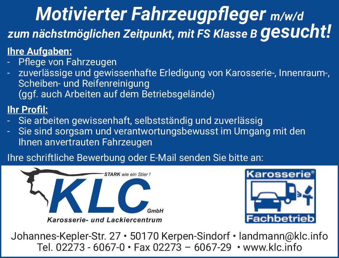Stellenangebot Fahrzeugpfleger